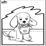 Работа с открытками - Открытка для вырезания - собака 2