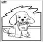 Открытка для вырезания - собака 2