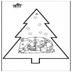 Рождественские раскраски - Открытка для вырезания - Вертепная драма 2