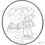 Зимние раскраски - Открытка для вырезания зима 1