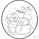 Зимние раскраски - Открытка для вырезания зима 2