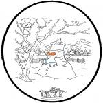 Зимние раскраски - Открытка для вырезания зима 4