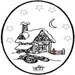 Зимние раскраски - Открытка для вырезания зима 5
