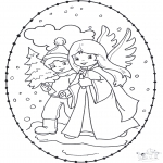 Рождественские раскраски - Открытка для вышивания Рождество 12
