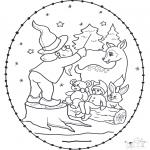 Рождественские раскраски - Открытка для вышивания Рождество 13