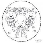 Рождественские раскраски - Открытка для вышивания Рождество 14