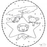 Рождественские раскраски - Открытка для вышивания Рождество 15