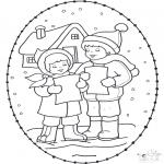 Рождественские раскраски - Открытка для вышивания Рождество 16