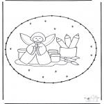 Рождественские раскраски - Открытка для вышивания Рождество 19