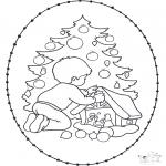 Рождественские раскраски - Открытка для вышивания Рождество 20