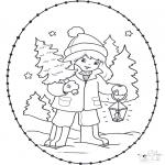 Рождественские раскраски - Открытка для вышивания Рождество 23
