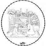 Рождественские раскраски - Открытка для вышивания Рождество 25