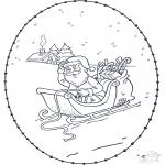Рождественские раскраски - Открытка для вышивания Рождество 3