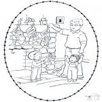 Рождественские раскраски - Открытка для вышивания Рождество 8