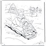 Зимние раскраски - Папа на санках
