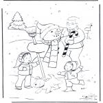 Зимние раскраски - Папа со снеговиком
