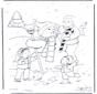 Папа со снеговиком