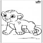 Раскраски с животными - Pебенок лев