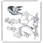 Раскраски с животными - Петух и курица