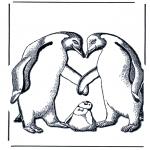 Раскраски с животными - Пингвин с детенышем