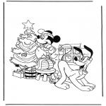 Персонажи комиксов - Плуто и Микки у елки