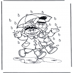 Детские раскраски - Под дождем