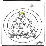 Рождественские раскраски - Подвеска на окно - рождество 2