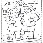 Зимние раскраски - Поем на снегу
