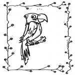 Раскраски с животными - Попугай 2