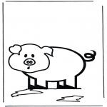 Раскраски с животными - Поросенок 2