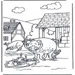 Раскраски с животными - Поросята 3