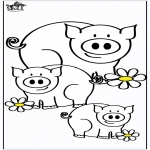 Раскраски с животными - Поросята 4