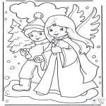 Зимние раскраски - Прогулка по снегу