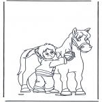 Раскраски с животными - Расчесывание лошади