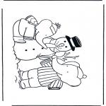 Зимние раскраски - Раскраски страницу Снеговик 1
