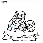 Зимние раскраски - Раскраски страницу Снеговик 3