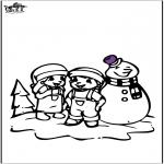 Зимние раскраски - Раскраски страницу Снеговик 2