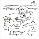 Детские раскраски - Ребенка в море