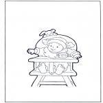 Детские раскраски - Ребенок в детском стульчике