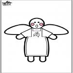 Рождественские раскраски - Рождественский ангел - Открытка для вырезания