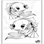 Раскраски с животными - Рыба 3