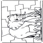 Раскраски с животными - Слон 2