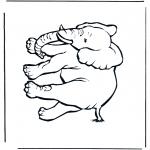 Раскраски с животными - Слон 4