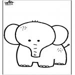 Раскраски с животными - Слон 7