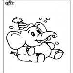 Раскраски с животными - Слон 8