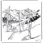 Зимние раскраски - Снег в Йеллоу Стоун 1