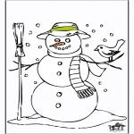 Зимние раскраски - Снеговик 2