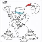 Зимние раскраски - Снеговик 5