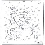 Зимние раскраски - Снеговик с кроликами
