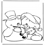 Персонажи комиксов - Снеговик с медвежонком